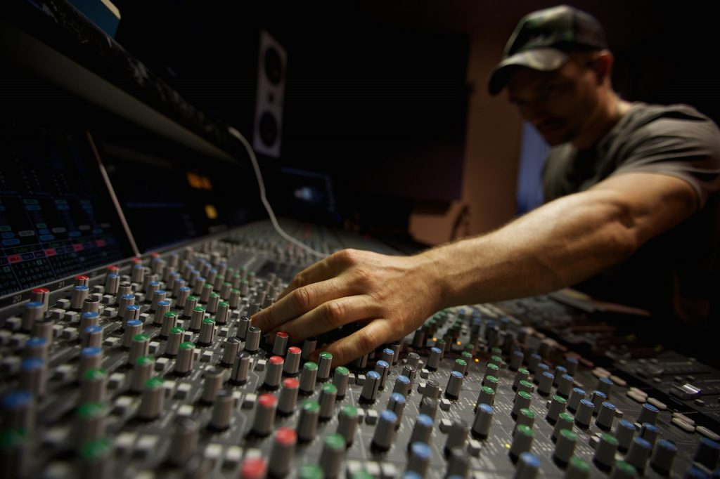 music production console,